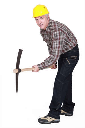 ax man: Middle-aged man with pick ax