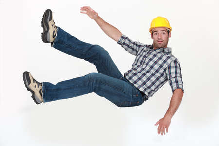 freefall: A construction worker in freefall.