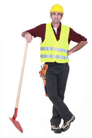 road worker: Worker with spade