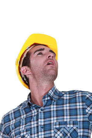 hard look: Builder looking upwards