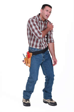 work injury: injured laborer, on white background Stock Photo