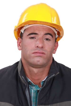 A bored construction worker. photo