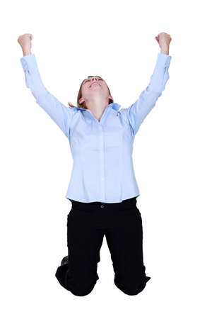 kneel: Woman raised hands in delight