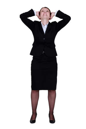 Businesswoman rejoicing photo