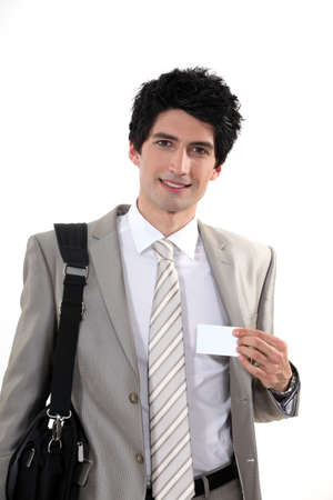 personalised: Businessman attending a conference Stock Photo