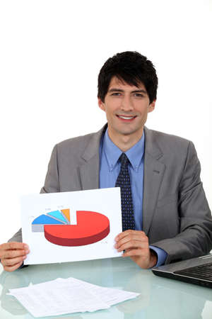sales strategy: Salesman showing a graph on a document