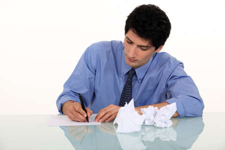 annotations: Man writing a letter Stock Photo