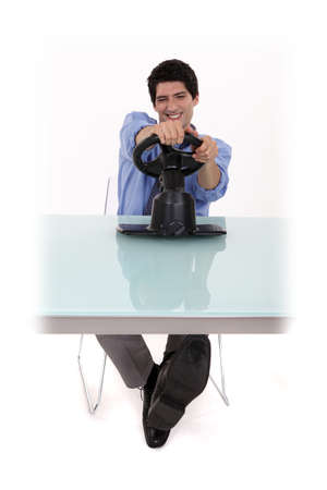 Man pretending to play a console photo