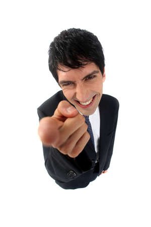 insulting: Businessman pointing his index finger Stock Photo
