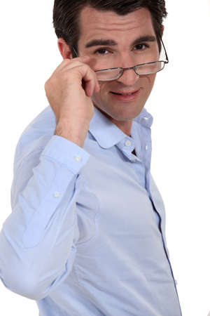 dauntless: man wearing glasses Stock Photo