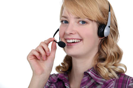 Carefree blond call-center worker photo