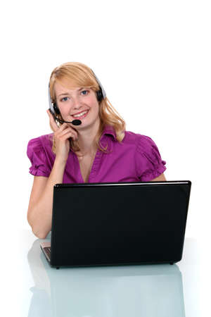 Call center worker with laptop Stock Photo - 19844486