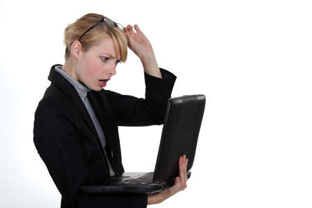 computer problem: Woman caught in front of computer