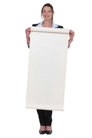 paperboard: young woman holding paperboard