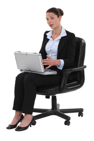 attache: Businesswoman with an attache case Stock Photo
