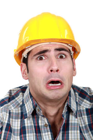 gaff: Terrified builder Stock Photo