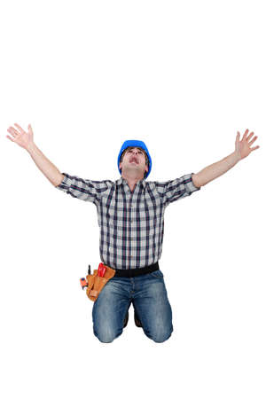 delirious: Tradesman crying out in fear