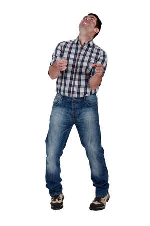 deranged: Deranged man gripping an invisible object Stock Photo