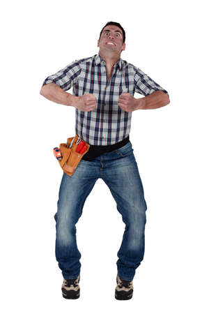 enveloping: Man gripping an invisible object Stock Photo