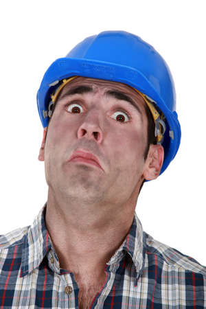 fearful: A fearful construction worker