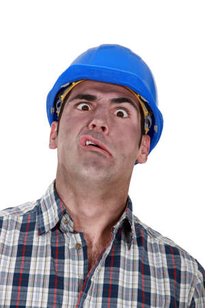 Portrait of grimacing worker Stock Photo - 19855720