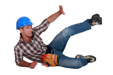 Construction worker in an accident Stock Photo