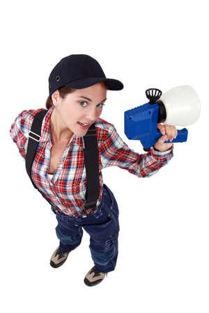 craftswoman: sexy craftswoman holding a sprayer