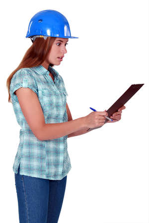 Shocked woman holding clipboard Stock Photo - 19846424