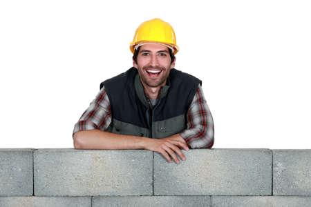 stonemasonry: Portrait of a smiling stonemason