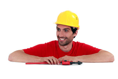 maniacal: Manic looking manual worker