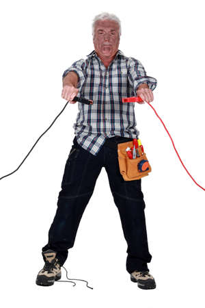 Technician being electrocuted photo