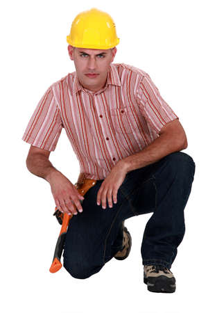 Portrait of a handyman frowning Stock Photo - 19874184