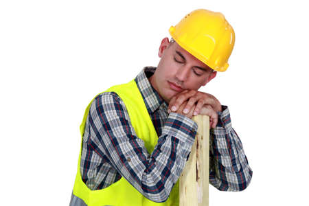 drowse: Construction worker sleeping Stock Photo