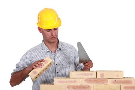Mason making brick wall, studio shot photo