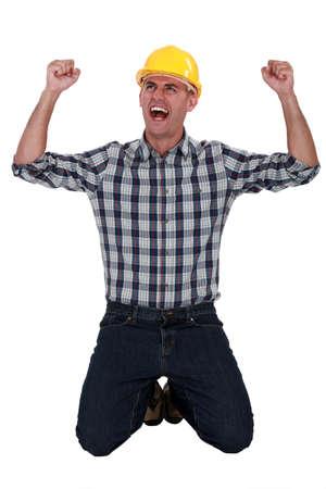 tradesman: Tradesman rejoicing