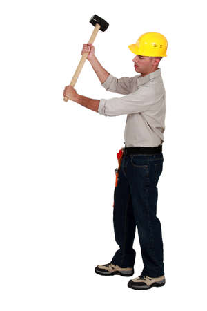 mace: Workman using hammer, on white background