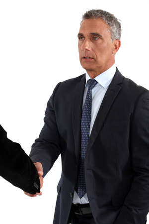 introductions: A business handshake Stock Photo