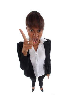 Angry businesswoman pointing photo