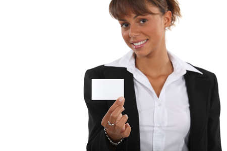 businesscard: Woman showing off business-card Stock Photo