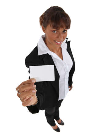personalised: Woman presenting her business card