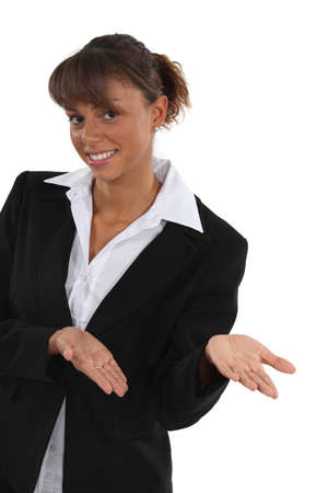 tiedup: An empty-handed businesswoman