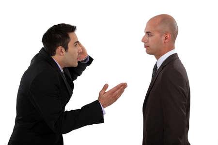 entrepeneur: Two businessmen arguing Stock Photo