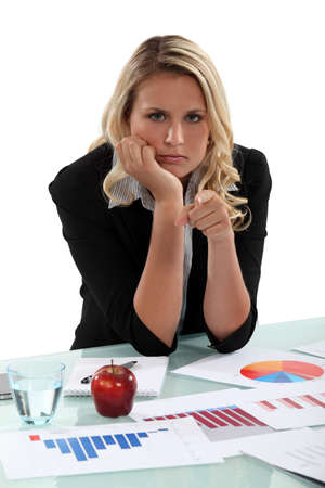 grouchy: An angry market researcher Stock Photo