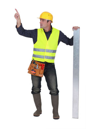 reflective vest: Worker in a reflective vest