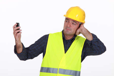 high visibility: Construction worker Stock Photo