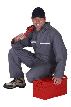 Handyman with a toolbox photo