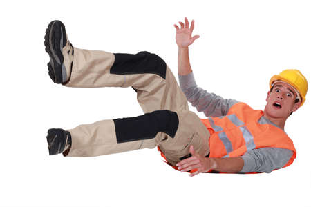 Labourer falling backwards photo
