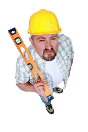 A angry handyman with a level.