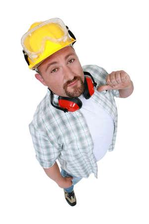 designate: Construction worker indicating himself