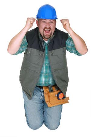 excited man: Happy worker Stock Photo